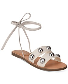 Bryony Ball-Studded Ankle-Tie Sandals