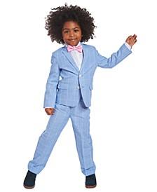 Toddler Boys 4-Pc. Blue Windowpane Suit Set