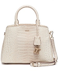 Paige Croc Embossed Leather Satchel
