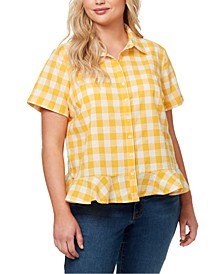 Trendy Plus Size Nellie Cotton Plaid Ruffled-Hem Top