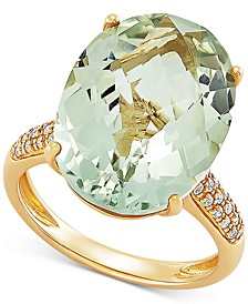 Green Quartz (11 ct. t.w.) & Diamond (1/6 ct. t.w.) Statement Ring in 14k Gold