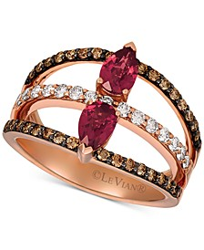 Raspberry Rhodolite Garnet (7/8 ct. t.w.) & Diamond (5/8 ct. t.w.) Statement Ring in 14k Rose Gold