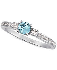Sea Blue Aquamarine (1/4 ct. t.w.) & Diamond (1/6 ct. t.w.) Ring in 14k White Gold