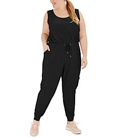 Plus Size Drawstring-Waist Sleeveless Jumpsuit, Created for Macy's
