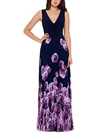 Petite Illusion-Waist Floral-Print Pleated Gown