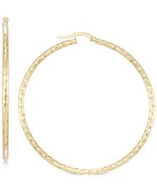 Medium Textured Hoop Earrings in 14k Gold
