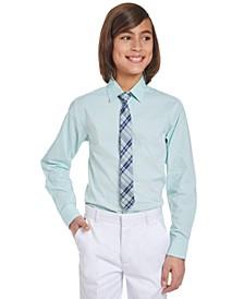 Big Boys 2-Pc. Stretch Mini-Gingham Dress Shirt & Plaid Tie Set