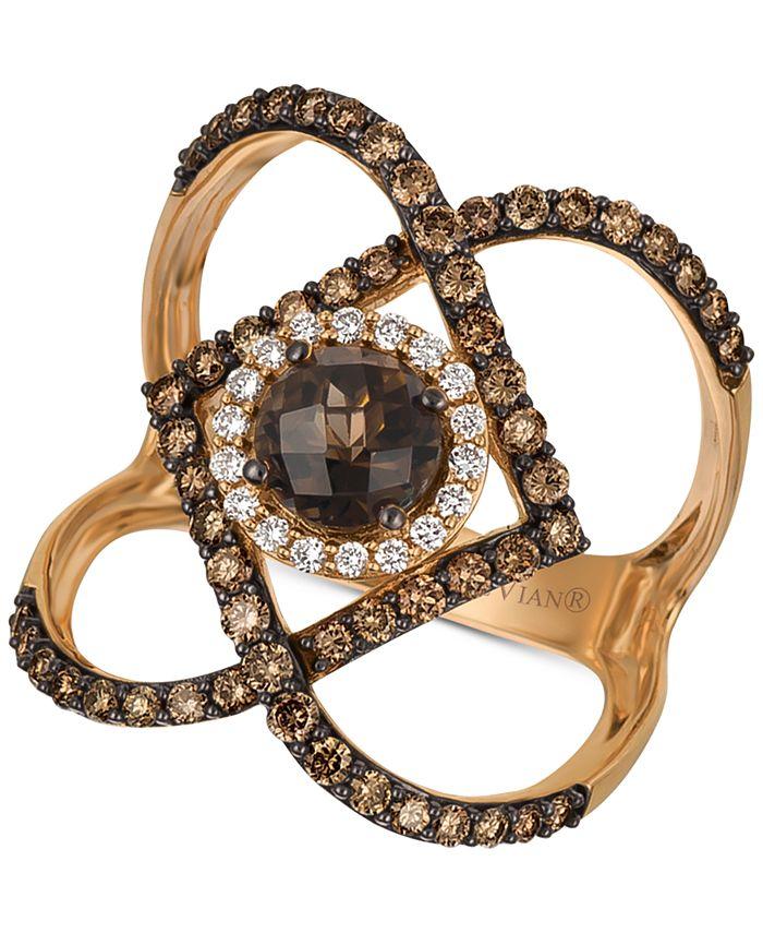 Le Vian - Chocolate Smoky Quartz (3/4 ct. t.w.) & Diamond (7/8 ct. t.w.) Statement Ring in 14k Rose Gold