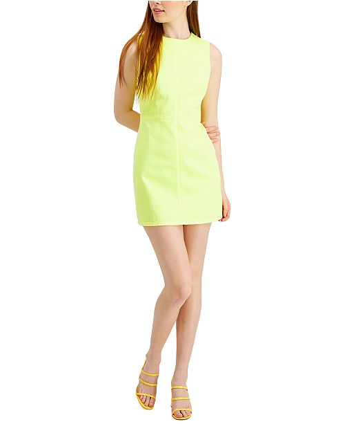 French Connection Sekai Neon Denim Sheath Dress