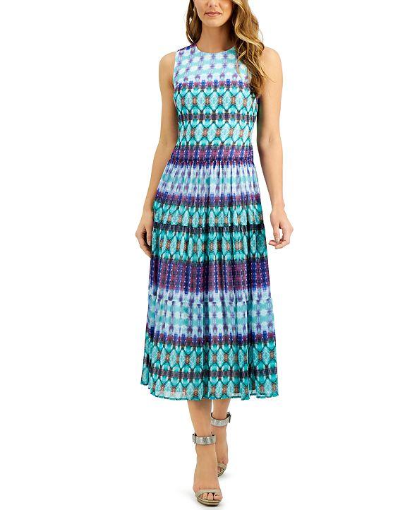 Calvin Klein Tie-Dye Pleated Chiffon Dress