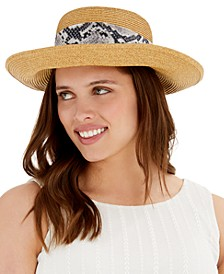 Floppy Hat With Snake-Embossed Scarf