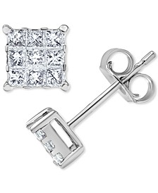 Diamond Princess Square Cluster Stud Earrings (1/3 ct. t.w.) in 14k White Gold
