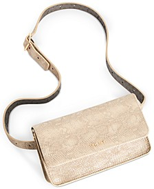 Metallic Snake-Embossed Convertible Belt Bag