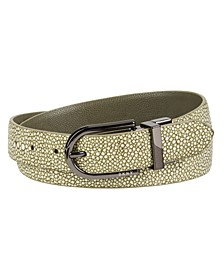 Reversible Stingray-to-Pebble Texture Belt