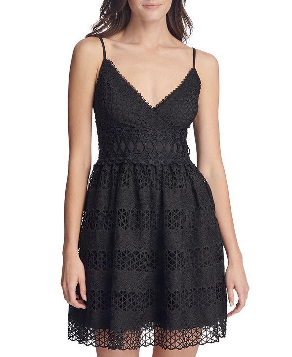 GUESS V-Neck Fit & Flare Dress