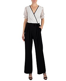 Dotted-Top Tie-Belted Jumpsuit