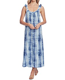 Ruffle-Strap Linear Shibori Dress