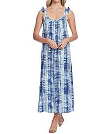 Ruffle-Strap Linear Shibori Dress