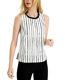 Striped Knit-Trim Top, Created for Macy's