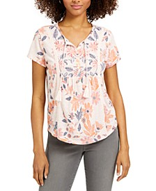 Plus Size Print Tie-Neck T-Shirt, Created for Macy's