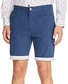 Men's Modern-Fit Stretch Mini Star Print Shorts