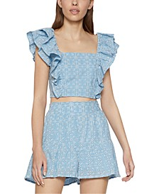 Cotton Ruffled Eyelet Crop Top