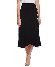 Ruffled-Hem Asymmetrical Button-Front Twill Skirt