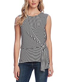 Vibrations Stripe Tie-Front Top