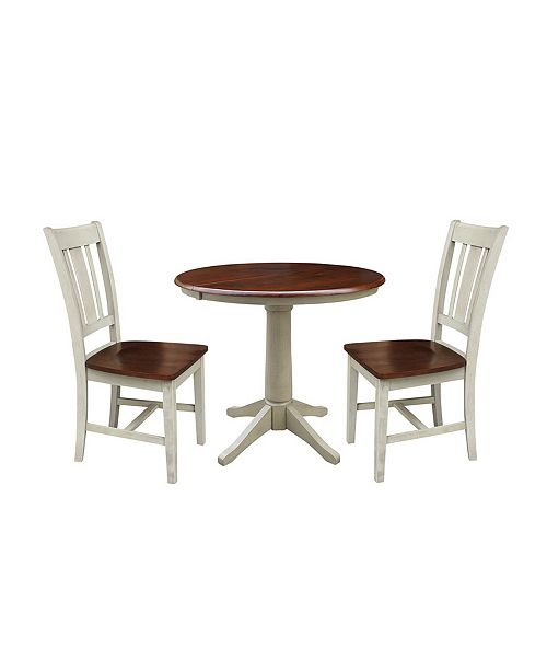 International Concepts 36 Round Extension Dining Table With 2 San Remo Chairs Reviews Furniture Macy S
