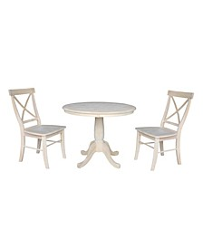 """36"""" Round Pedestal Table with 2 Chairs"""