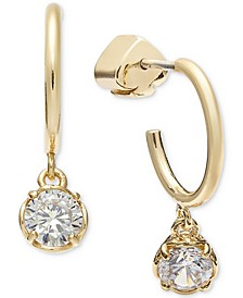 Gold-Tone Crystal Charm Huggie Hoop Earrings