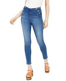 Ultra-Curve Button-Detail Skinny Jeans