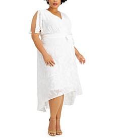 Plus Size Split-Sleeve Burnout Maxi Dress