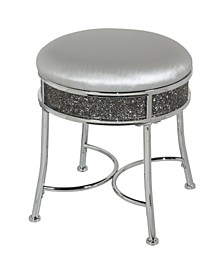 Roma Diamond Cluster Glam Backless Metal Vanity Stool