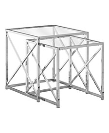 Nesting Table - 2 Piece Set with Tempered Glass