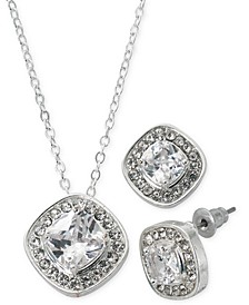 "Fine Silver Plate Cubic Zirconia Square Necklace and Stud Earring Set, 18"" + 3"" extender"