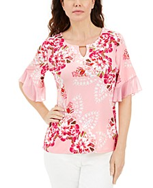 Plus Size Liza Blooms Floral Print Flutter Sleeve Top, Created for Macy's