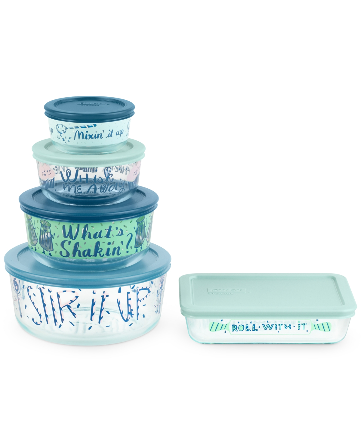 Pyrex Decorated What's Shaking 10-Pc. Food Storage Container Set