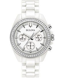 Women's Chronograph White Ceramic Bracelet Watch 37mm, Created for Macy's