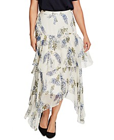 Petite Floral-Print Asymmetrical Skirt