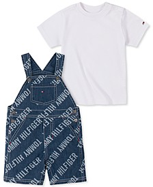 Baby Boys Denim Shortall T-Shirt Set