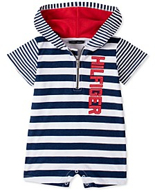 Baby Boys Striped Hooded Romper