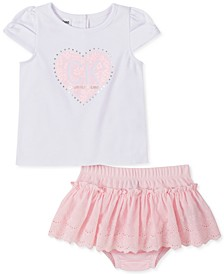 Baby Girls Heart Top and Diaper Cover Set