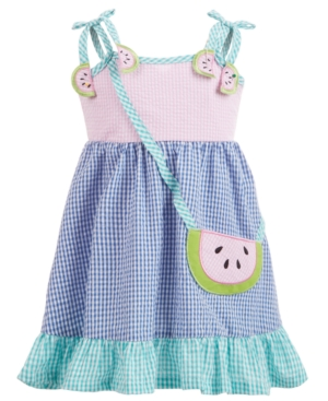 Blueberi Boulevard Baby Girls Gingham Seersucker Watermelon Dress