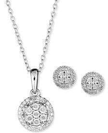 2-Pc. Set Diamond Cluster Pendant Necklace & Matching Stud Earrings in Sterling Silver