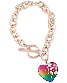 Crystal-Frosted Heart Charm Link Bracelet