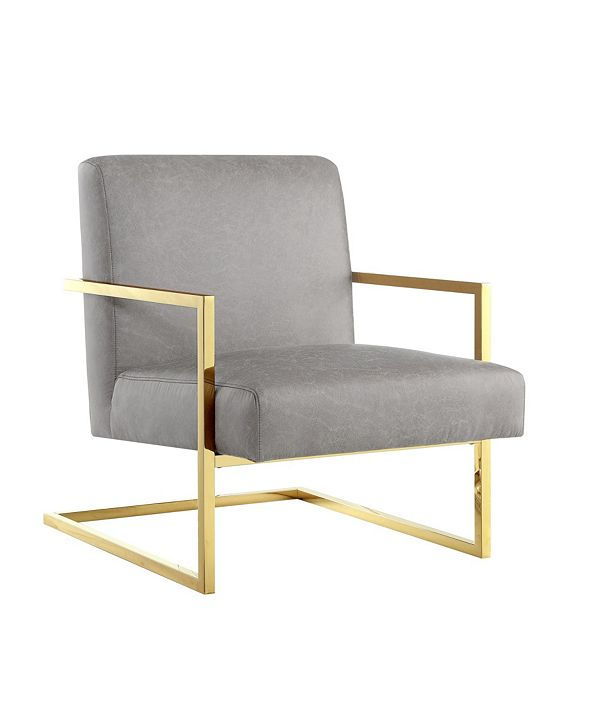 Nicole Miller Chester Accent Chair with Square Metal Arm and Base