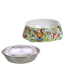 Dog Park 2-Pc. Bamboo Fiber Pet Bowl with Stainless Steel Insert