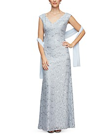 Petite Scalloped Lace Gown & Shawl