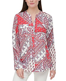 Paisley-Print Roll-Tab Blouse
